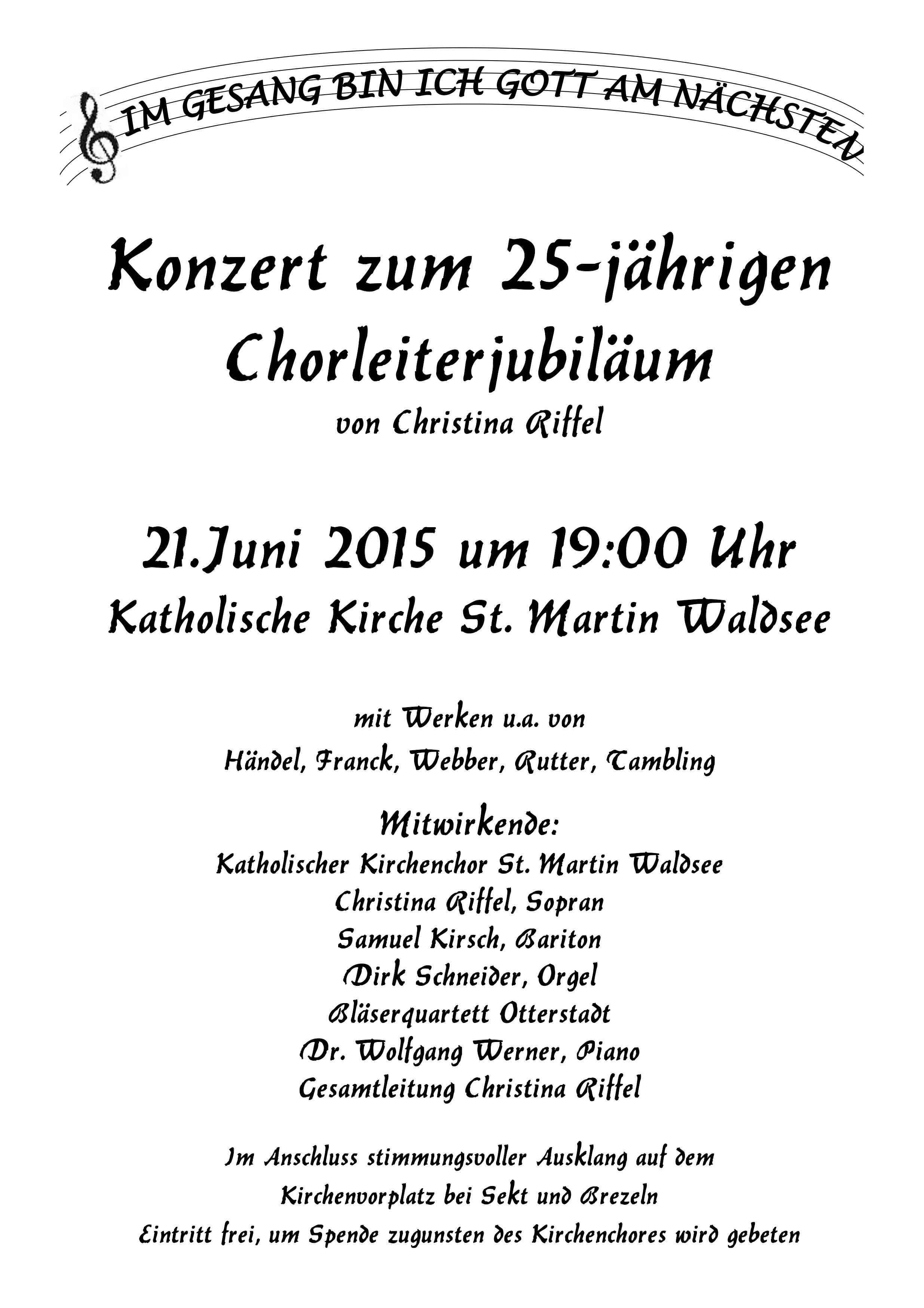 einladung: konzert zum chorleiterjubiläum   pfarrei hl. christophorus, Einladung